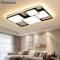 Omicron moderno negro blanco Led luces de la lámpara de hierro cuerpo de aluminio para sala de estar dormitorio comedor candelabros Accesorios