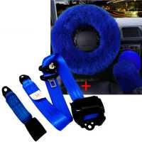 Azul cubierta del volante del coche de lana peluda Faux con retráctil vehículo 3 Punto asiento de seguridad cinturón de regazo invierno esencial