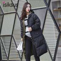 Isiksus acolchado cálido chaquetas de invierno para Mujer Plus tamaño largo acolchado negro abrigo de algodón con capucha chaqueta 2018 Parkas para las mujeres WP017