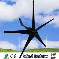 800 W 24 V 48 V Volt 5 de fibra de Nylon hojas Horizontal generador de las turbinas de viento de molino de viento cargador de energía Kit de casa negro