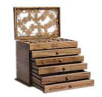 Caja de joyería de madera real de trébol estilo retro gran multicapa matrimonio vacaciones regalo organizador de maquillaje caja de almacenamiento 31*20 cm 25