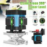 3D nivel láser verde de nivel 12 líneas auto nivelación 360 ° Rotary Vertical y Horizontal Control remoto medida herramienta + soportes de pared