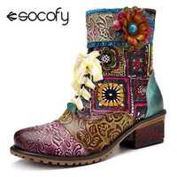 Socofy Bohemian Retro Cowgirl botas mujer cuero genuino empalme Caballero invierno botas Mujer Zapatos Mujer cremallera occidental botines