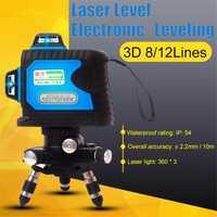8 Línea 12 líneas 3D nivel-nivelación 360 Horizontal y Vertical Super potente láser verde de haz de línea la voz de la UE nos Reino Unido es