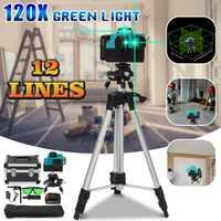 100 xStrong 12 Línea Verde luz 3D nivel láser 360 Vertical Horizontal auto nivelación Cruz rayo láser línea w/ trípode gafas