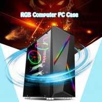 Funda de PC de ordenador Transparente de LEORY torre de juegos ATX Audio con 2 tiras de luz de cambio de Color RGB 350X170 X 420mm