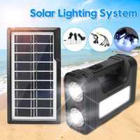 Smuxi hogar energía Solar sistema de iluminación Led Panel de energía Solar generador Kit con lámpara Led ahorro de energía Iluminación Interior Exterior
