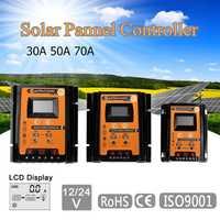 12 V/24 V/30/50/70A MPPT controlador de carga Solar regulador de la batería del Panel USB Dual