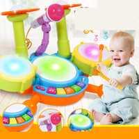 Juego de batería de luz de Flash de bebé instrumento Musical juguete Casual es un gran regalo para sus niños juguetes interactivos