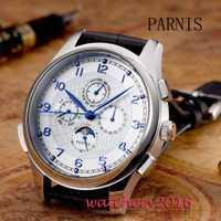 Fase de la luna Parnis aguja 44mm fecha Día Dial blanco azul marcadores caja de acero inoxidable movimiento automático de los hombres relojes mecánicos