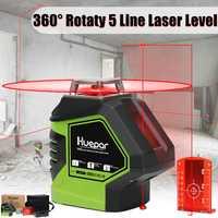 360 Función de barra giratoria 5 líneas de haz rojo línea de cruce 3D herramienta de medición de nivel láser Horizontal Vertical