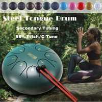 6 pulgadas de acero lengua tambor Mini 8 tono G melodía mano Pan tambor tanque colgar tambor con baquetas bolsa instrumentos de percusión