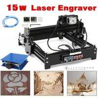 Área de grabado 14x20 cm 15 W láser como-5 de escritorio USB 15000 mW CNC grabador láser DIY máquina de marcado de Metal de madera de piedra