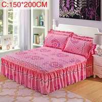 3 unids/set 1,5 m/1,8 m almohada tamaño reina Chandler cama falda acolchada estampado engrosada colcha cama falda equipada hoja