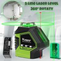 360 Función de barra giratoria 5 líneas de luz verde línea transversal 3D herramienta de medición de nivel láser Horizontal Vertical