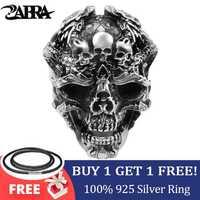ZABRA Real 925 Anillo de Plata anillo de Calavera Hombres Dragón Ajustable Punk Rock Muchos Esqueletos Hombres Joyería Gótica de Halloween