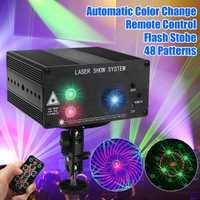 48 patrón Proyector láser control remoto/sonido Control de discoteca luz LED RGB DJ etapa del Partido de la luz de la decoración de Navidad de la lámpara Reino Unido /US/EU