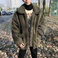 2018 invierno de los hombres de la moda de Parkas espesar ropa de algodón acolchado suelto en caliente negro/nieve verde chaquetas abrigos trinchera tamaño M-2XL