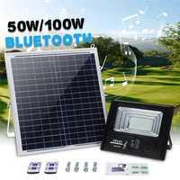 Mising de energía Solar 50 W/100 W Luz de inundación 100/192 Altavoz bluetooth LED lámpara al aire libre IP67 Solar impermeable lámparas con control remoto