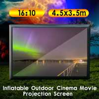 Plegable 16:10 4,5 m x 3,5 m proyector al aire libre pantalla de cine inflable 210D de la tela de Oxford pantalla de cine inflable TV