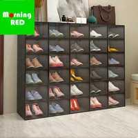 2019 nueva lista plegable de plástico de almacenamiento de caja de zapatos magnético Puerta de apertura y cierre conveniente del gabinete del zapato