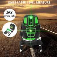 Láser verde de Nivel 2/3/5 líneas cruzadas interior/al aire libre de la nivelación 360 Rotary medida herramienta nos enchufe de radio alterna directa