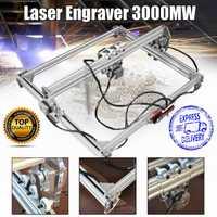 50*65 cm Mini 3000 MW bleu gravure Laser graveur Machine DC 12 V bricolage bureau bois Cutter/imprimante/puissance réglable + Laser lunettes