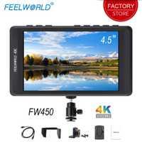 Feelworld FW450 4,5 pulgadas DSLR Cámara Monitor de campo IPS pequeño HD 1280x800 4 K HDMI Salida de entrada de luz peso portátil monitores LCD