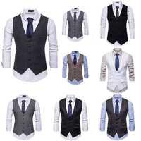 Ajusta chaleco Formal de negocios de traje de corte Slim de esmoquin Botón de los hombres británicos botón británico Slim chaleco Formal traje de esmoquin chaleco chaleco
