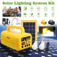 Portátil Sistema de Panel Solar 3 W 6 V cargador de batería Solar 4500 mAh generador + 2 * LED Luz 5 V USB cargador iluminación música Radio