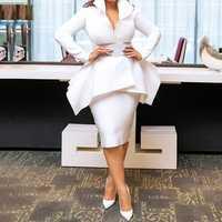 Été élégant fête blanc OL dame Style africain femmes 2 pièces ensembles casual grande taille manteaux moulante jupes volants femmes costumes