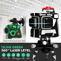 100-240 V 3D 12 Línea Verde/luz azul nivel láser autonivelante 360 Rotary medida Cruz con trípode giratorio 360 de verde/azul