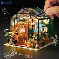 1 unid hermosa casa de muñecas de madera jardín verde modelo DIY paquete de Material de juguetes de los niños regalo hecho a mano suministros de arte casa Decoración