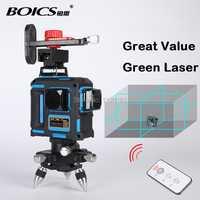 Envío Gratis Boics 12 líneas 8V4H línea láser de líneas en cruz rotary nivel láser autonivelante nivel láser con infrarrojos -rojo remoto