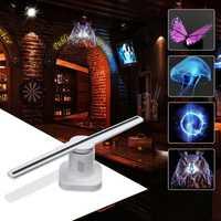 42 cm 3D holograma lámpara de proyector LED holográfica publicidad pantalla ventilador holograma luz con 8 GB tarjeta de memoria lámpara de publicidad
