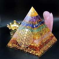 Orgonite sept Chakra énergie pyramide Aura Divination fournitures Yoga méditation ornements résine artisanat EMF Protection pierre chanceuse
