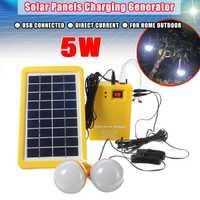9 V 3 W USB cargador de Panel Solar de interior al aire libre sistema de paneles solares de batería de carga de 2 bombillas LED generador de energía energía campamento de viaje