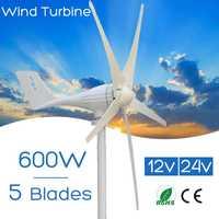 600 W 12 V 24 V Volt 5 de fibra de Nylon hojas Horizontal generador de las turbinas de viento de molino de viento cargador de energía Kit de casa