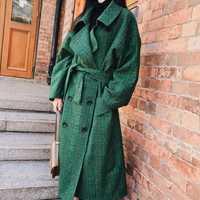 LANMREM 2018 moda Otoño Breasted doble Notech Casual de gran tamaño de tipo largo verde para mujer abrigo de lana UA26406