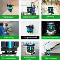 3D nivel láser Luz Verde 12 línea colocación instrumento de nivel de precisión plana brillo piso suelo nivelación instrumento