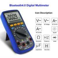 Probador de Bluetooth Lcd multímetro Digital 4,0 de prueba para termopar tipo K 6000 retroiluminación Real 10 m Ohms Digital multímetro