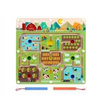 Stylo à perles magnétique labyrinthe thème de la ferme jeux Parent-enfant Puzzles Montessori en bois jouets éducatifs pour les enfants d'âge préscolaire