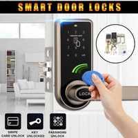 Electrónica inteligente cerradura de la puerta 3 in1 contraseña mecánica Digital de tarjeta de identificación de la cerradura de la puerta de seguridad y protección + 6x ID tarjeta de