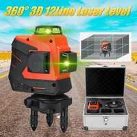 12 líneas 3D No ángulo muerto nivel láser autonivelante 360 Rotary Horizontal y Vertical súper poderoso verde rayo láser de línea