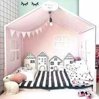Parachoques cuna bebé para recién nacidos nórdicos INS pequeña casa de cojín de cama de cuna alrededor almohadas BabyRoom decoración para chica chico