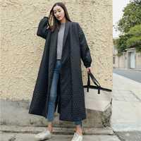 LANMREM nueva moda negro Oversize solapa a ventilación botón invierno 2018 chaqueta mujer algodón largo abrigo chaqueta Feminina WTH1201