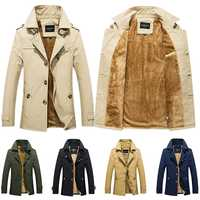 2019 de Moda hombre cálido espesar chaqueta de abrigo de los hombres de negocios cazadora Slim prendas abrigos genial hombre solapa Caballero invierno abrigos