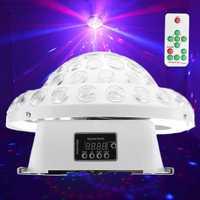 CLAITE DMX512 Control remoto DJ efecto de iluminación de escenario láser RG Gobos de cristal LED gran magia Bola de Disco fiesta club bares