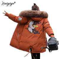 Ruiyige 2018 nuevo abrigo de invierno Chaqueta larga de las mujeres gruesa cálida Parka con Cuello de piel con capucha abrigos abrigo mujer abrigo Plus tamaño s-4XL