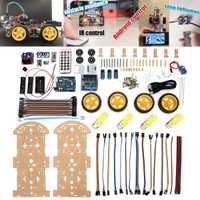 4WD inteligente Robot Kit de coche de alta tecnología juguetes Bluetooth IR obstáculo evitar línea sigue en L298N ForArduino programable vehículos Juguetes